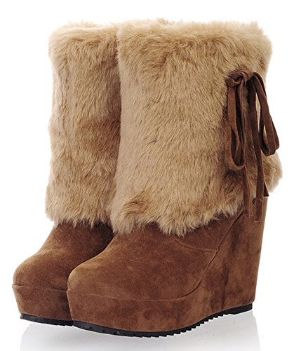 Ankle Snow Round Warm Pull Booties Platform Brown Fur Heel Aisun High Short Wedge Boots Winter Faux Toe On Lined Women's aqWX5T