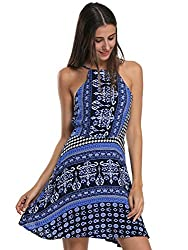 Choies Women's Blue Tile/Tribe Print Strappy Back Bohemian Casual Loose A-line Dress XL