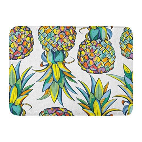 - Doormats Bath Rugs Outdoor Mat Yellow Pattern Colorful Pineapples Green Summer Jungle Beauty Doodle Bathroom Decor Rug 23.6