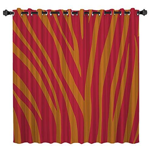 (Blackout Window Curtains Room Darkening Curtains Orange and Yellow Zebra Stripe Window Curtain Panels for Bedroom 52