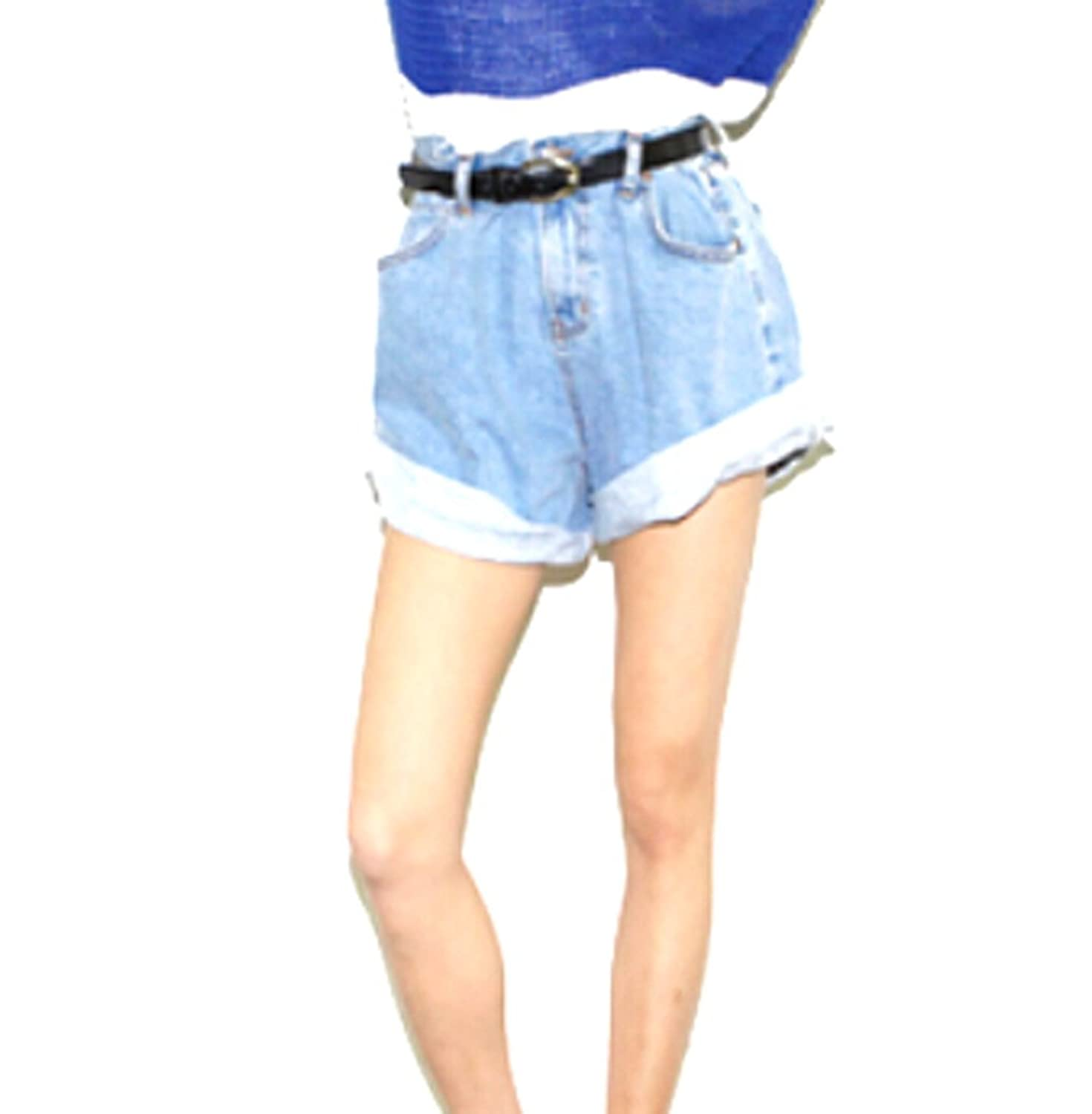 XQS Womens Casual High Rise Loose Crimping Jeans Shorts