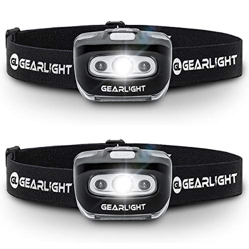 GearLight LED Headlamp Flashlight S500 [2 PACK] - Running, Camping, and Outdoor Headlamps - Best Head Lamp with Red Safety Light for Adults and Kids (1 Jogging Kit)