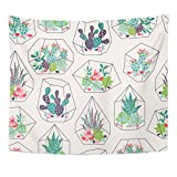 VaryHome Tapestry Cactus with Succulents and Cactuses Inky in Glass Terrariums Trendy Tropical Design Flower Desert Home Decor Wall Hanging for Living Room Bedroom Dorm 50x60 Inches