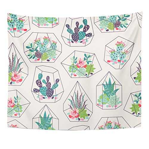 VaryHome Tapestry Cactus with Succulents and Cactuses Inky in Glass Terrariums Trendy Tropical Design Flower Desert Home Decor Wall Hanging for Living Room Bedroom Dorm 50x60 Inches by VaryHome