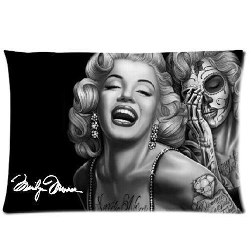 DiyCaseStore Marilyn Monroe Skull Face Custom Zippered Pillow Case, 20-Inch x 30-Inch