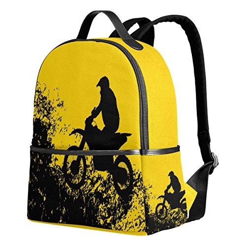 THUNANA Motorcycle Pattern Travel Lightweight Zipper Bag School Student Backpack For Women Men Kids -