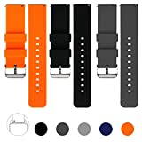 Vetoo 22mm Quick Release Watch Bands, Silicone Watch band with Adjustable Metal Clasp, Pack of 3