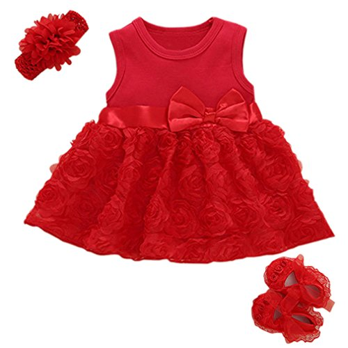 Niyage Baby Girls Clothes Dress Headband Shoes 3 Pcs Set Flowers Party Outfit Floral Dress-Red 0-3 Months -