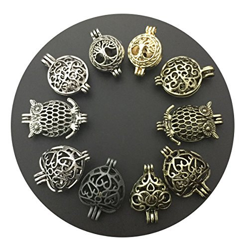 10pcs Mixed Pearl Cage Pendant Heart/Owl/Tree of Life Locket Add your own Beads, Stones Necklace Bracelet ()