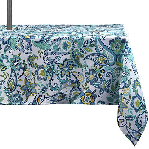 Lahome Paisley Flower Outdoor Tablecloth with Umbrella Hole - Water Resistant Spillproof Table Cover for Patio Table (Zippered - 60