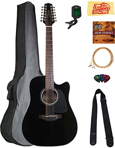 Takamine GD30CE12BLK 12-String Dreadnought Cutaway Acoustic-Electric...