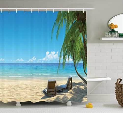 Ambesonne Tropical Decor Collection, Two Stylish Beach Chairs on Beach Relaxing Shadow from the Palm Trees Photography, Polyester Fabric Bathroom Shower Curtain, 75 Inches Long, Green Blue Ivory