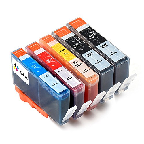 K-Ink Compatible Ink Replacement Cartridges for 564XL 564 XL (2 Big Black, 1 Cyan, 1 Magenta, 1 Yellow)