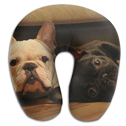 U-Shaped Pillow Neck Shoulder Body Care Dogs Muzzle Two French Bulldog Health Soft U-Pillow For Home Travel Flight Unisex Supportive Sleeping -