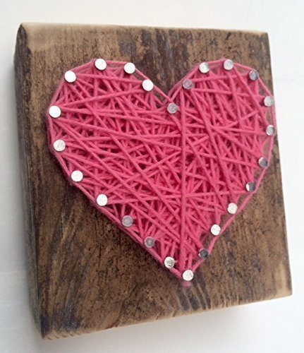 Sweet And Small Rustic String Art Hot Pink Wooden Heart Block
