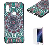 Funyye Relief Rubber Case for Xiaomi Redmi Note 6,Stylish Mandala Pattern Soft Silicone TPU Gel Cover for Xiaomi Redmi Note 6,Slim Fit Shockproof Non Slip Back Cover Smart Shell Protective Case for Xiaomi Redmi Note 6 + 1 x Free Screen Protector