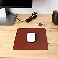 Mouse Pad Kit De Piel Miel + Organizadores Para Cables, Accesorios Para Escritorio Y Oficina, Regalo Para Novio, Regalo Para Hombre, Regalo Para Aniversario, Monograma Personalizado // MOUSE PAD JUMBO MIEL