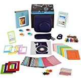 Fujifilm Instax Mini 9 Instant Camera Accessories - 14 Piece Kit Includes PURPLE Case - 2 Fujifilm Albums - 4 Filters - Selfie lens - 3 Magnet Frames - 10 Hanging + 5 Creative Frames - 60 stickers + Gift Box