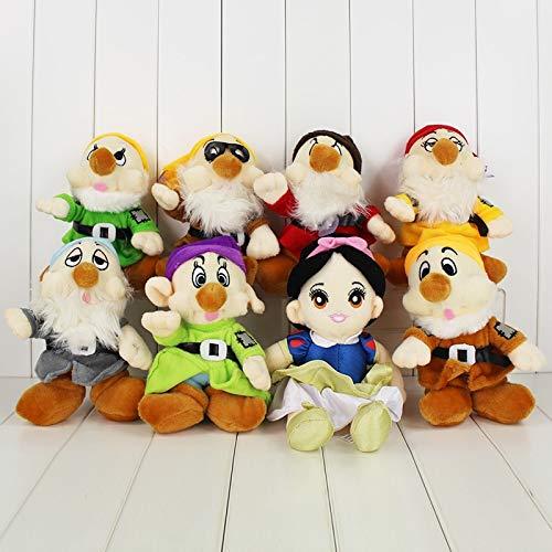 (hkp 8pcs/Set Princess Snow White and The Seven Dwarfs Plush Dolls 25-29 cm Happy Sleepy Toys Gifts)