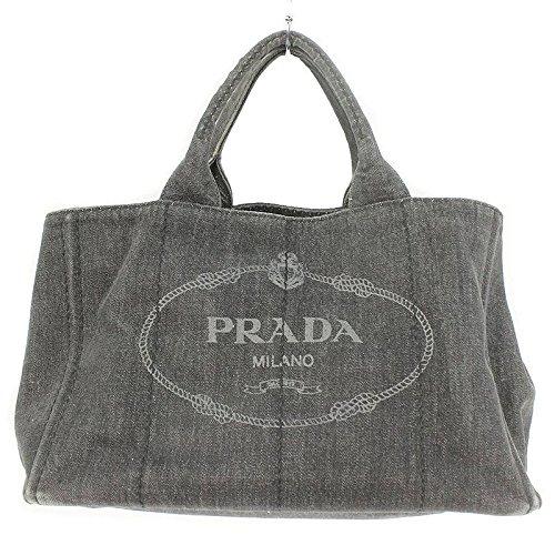 (プラダ) PRADA 【CANAPA カナパ】ロゴプリントキャンバス2WAYハンドバッグ(ブラック) 中古 B07D6ZSLK9