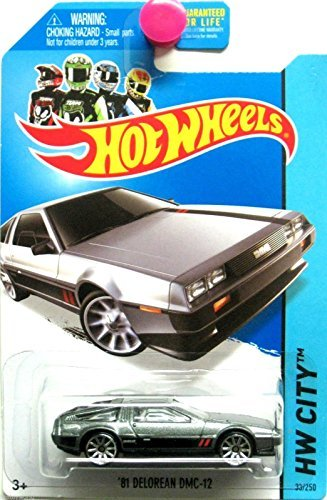 2014 Hot Wheels HW City Speed Team '81 Delorean DMC-12 (Grey with Black & Red Stripes on Sides and Hood) - Car Delorean