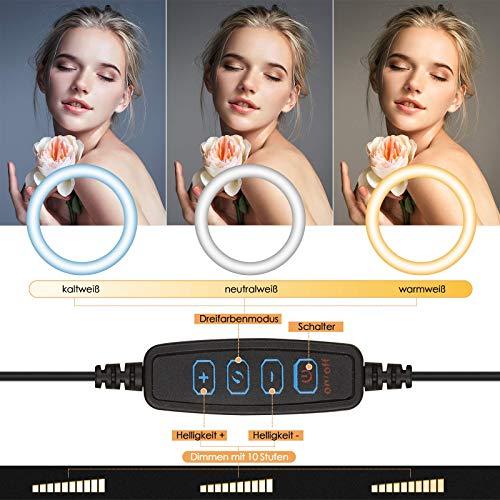 LED Ringlicht mit Stativ, 10,2