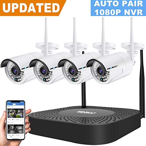 Wireless Security Camera System, GENBOLT Outdoor Home WiFi Security Surveillance Camera System, 8 Channels Full HD 1080P Video Record NVR with 4pcs 960P Waterproof Onvif IP Network Cameras