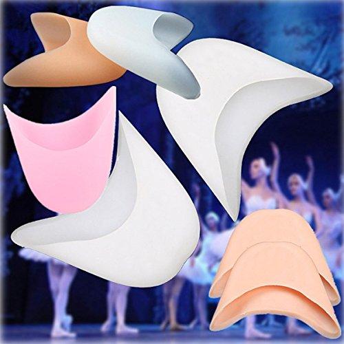 Focussexy Morbido Silicone Gel Pointe Balletto Scarpe Da Ballo Puntali Proteggi Dita Bianche + Pelle + Rosa