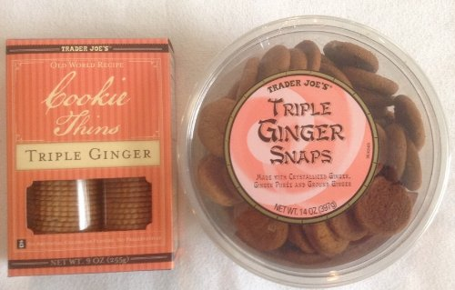 Trader Joe's - 1 Pack of Triple Ginger Snaps & 1 Pack of Cookie Thins Triple Ginger