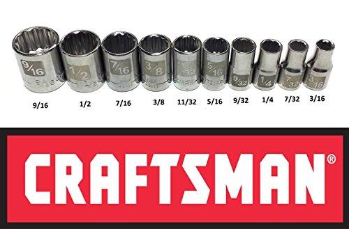 - Craftsman Laser Etched Easy Read 10 Piece 1/4