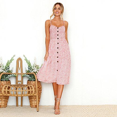 Choies Enregistrez Votre Bouton Avant Cravate Inspiré Boho Femmes De Mode Bas Bretelles Spaghetti Balançoire Floral Robe Dos Nu Midi Style 2 Rose