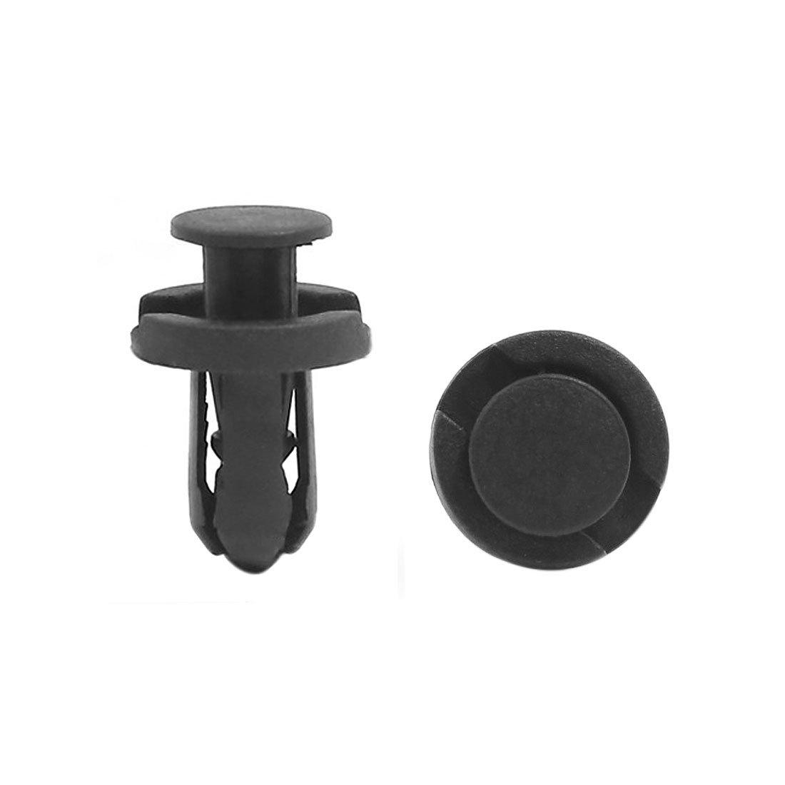 sourcingmap 100Pcs 10mm Hole Plastic Bumper Clips Panel Fastener Trim Clip Black