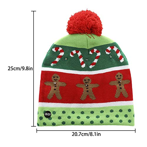 875a46e5f1ddd Asodomo LED Light up Hat Knitted Ugly Sweater Holiday Xmas Christmas  Beanies Colorful Lights Flashing Hat Knit Cap