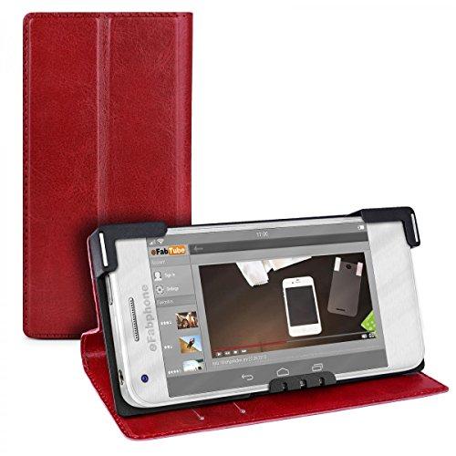 eFabrik Universal Smartphone Hülle 5.2 - 5.7 Zoll Schutz Tasche Case Cover Handyhülle Schutztasche Schutzhülle Etui Leder-Optik rot