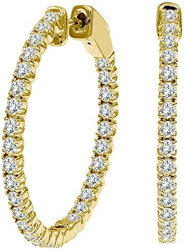 3 Carat Diamond Hoop Huggies Eternity In And Out 14K Yellow Gold Women Unisex Earring