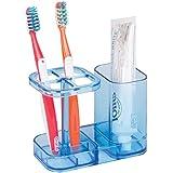 mDesign Bathroom Medicine Cabinet Organizer, Toothbrush and Toothpaste Holder - Ocean Blue