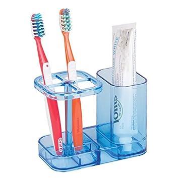 mDesign Accesorios para el baño - Soporte para cepillo de dientes - Practico porta cepillo de dientes con espacio para la pasta de dientes - Color: ...