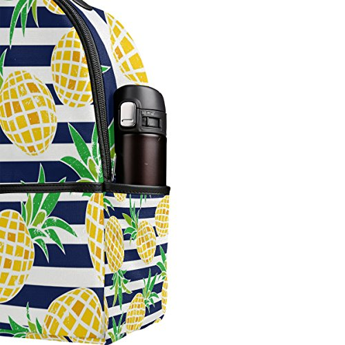Use4 Striped Pineapple Fruit Retro Polyester Backpack School Travel Bag by ALAZA (Image #4)