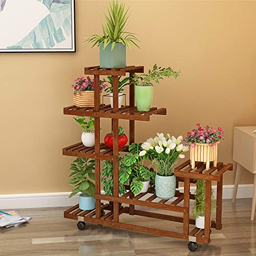 BENCONO Balcony Flower Stand Multi-Layer Solid Wood Flower Stand Living Room Home Rack Green Plant Pot Rack Decorative Plant Rack A, B, C 3 Optional (Size : C) by BENCONO
