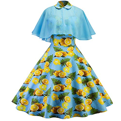 HYIRI Lemon Print Cloak Evening Party Dress,Women's Vintage Cocktail Prom Ballgown Fancy Dress from HYIRI