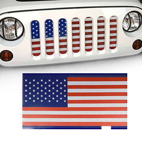 Flag Grille - allinoneparts American USA Flag Steel Mesh Grille Grid Inserts for Jeep Wrangler Accessories JK JKU 2007-2018