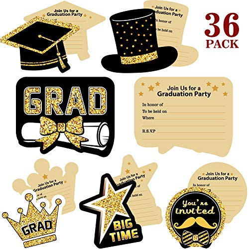 Blulu 2019 Graduation Party Invitations, 36 Pieces Graduation Invitation Cards with Envelopes and Stickers - Graduation Cards Celebration Announcement Cards for Graduates -