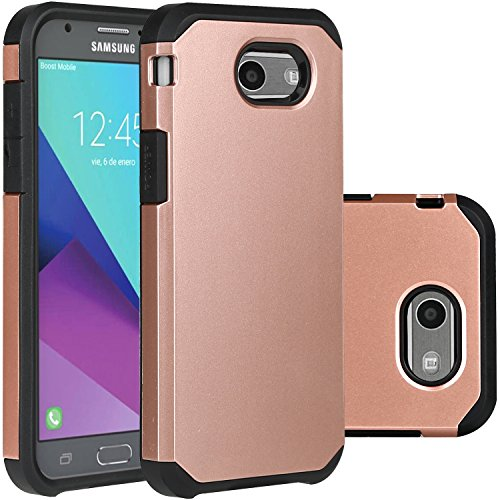 Samsung Galaxy J3 Emerge Case Rose Gold/J3 Prime/J3 2017/Amp Prime 2/Express Prime 2/Sol 2/J3 Luna Pro/J3 Eclipse/J3 Mission Case, LUHOURI Hybrid Armor Rugged Defender Protective Case Cover