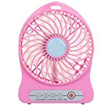 Welltop® Electric Portable Mini fan Rechargeable Desktop Fan 4-inch Vanes 3 Speeds Battery/ USB Powered Household Summer Cooler Cooling Operated Cool Cooler Fan with 18650 Rechargeable Battery and USB Charge Cord (Pink)