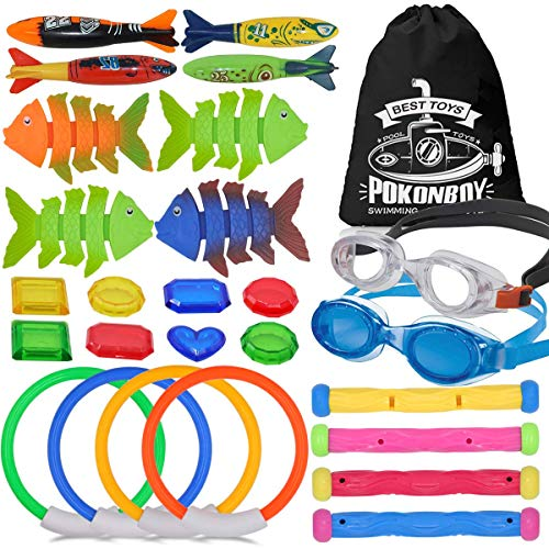 POKONBOY Underwater Swim Diving Pool Toys - 26 Pack Swimming Pool Dive Toys for Boys Kids Diving Rings Toypedo Bandits Diving Sticks Diving Fish Under Water Treasures with Kids Swim Goggles Gift Set