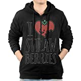 RZWD06 I Heart Strawberries Fruit Mens Sweater,Long Sleeve Zipper Hoodie For Man