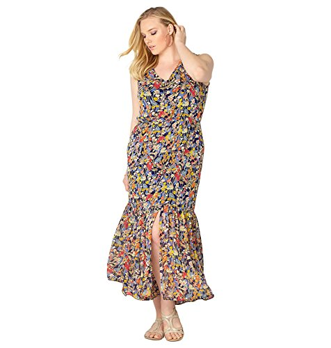Avenue Women's Wildflower Flounce Maxi Dress, 14/16 Multi Color
