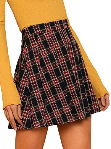 WDIRARA Womens Casual Plaid High Waist Pleated A-Line Mini Skirt