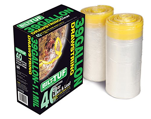 Bilt-Tuf Clear 39 Gallon Lawn & Leaf Drawstring Garbage/Trash Bags