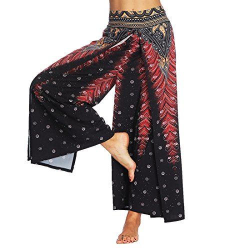 SEVENWELL Women Sexy Waist Wide Leg Floral Pants Casual Summer Gypsy Hippie Boho Yoga Harem Pants Black Peacock Feathers L by SEVENWELL (Image #2)
